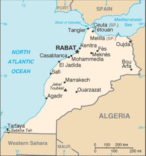marocko karta marocko landsfakta, folkmängd, folkgrupper, bnp, karta mm | stalvik.se marocko karta